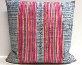 """Indigo batik and embroidered Hmong textile cushion cover 18""""x18"""""""