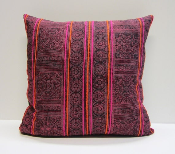 "Hand block printed and embroidered Hmong textile cushion cover 18""x18"""