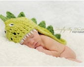 Custom order for Kylavalens's Dino (or Dragon ) costume set -baby hat and boots, perfect newborn photo prop and Halloween costume