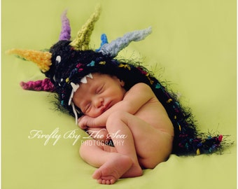 Mohawk  Dragon baby hat, perfect newborn photo prop and Halloween costume
