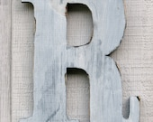 Rustic Wooden Letter R Distressed Painted White,12 Inch Tall Wood Name Letters, Custom Wedding Gift