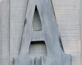 "Large Rustic Wood letters ""A"" Wedding decor Rustic Distressed Painted White,12"" tall Wood Name Letters, Custom Wedding Gift"