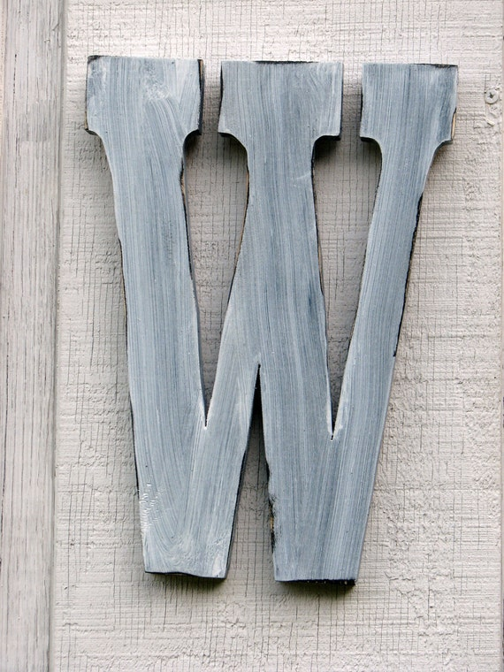 Shabby Chic Rustic Wooden Letter W Distressed Painted