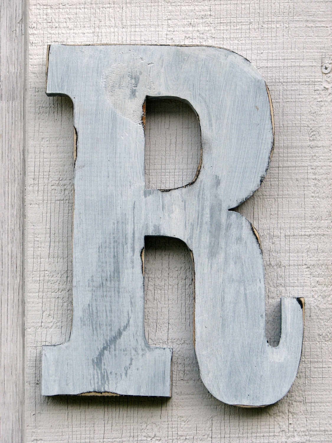 rustic wooden letter r distressed painted white12 inch tall. Black Bedroom Furniture Sets. Home Design Ideas