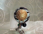Black and White Glass with Gold Accents Brooch Badge Reel ID  Holder or Name Card One of a Kind