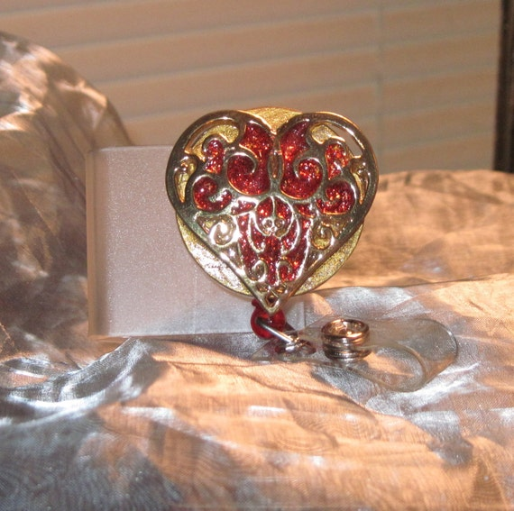 Lovely Stained Glass Look Filigree Gold Heart Brooch Retractable Badge  Reel ID  Holder or Name Card One of a Kind