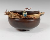 Wrapped Vessel (wv004), small polished clay pot wrapped w/ sedge, green beads, traditional Native American style, Nansee New, Casa Luz