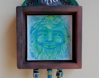 Greenman Shrine (gm004), iconographic wall hanging of Celtic God by Robin Whealdon and Nansee New, Casa Luz