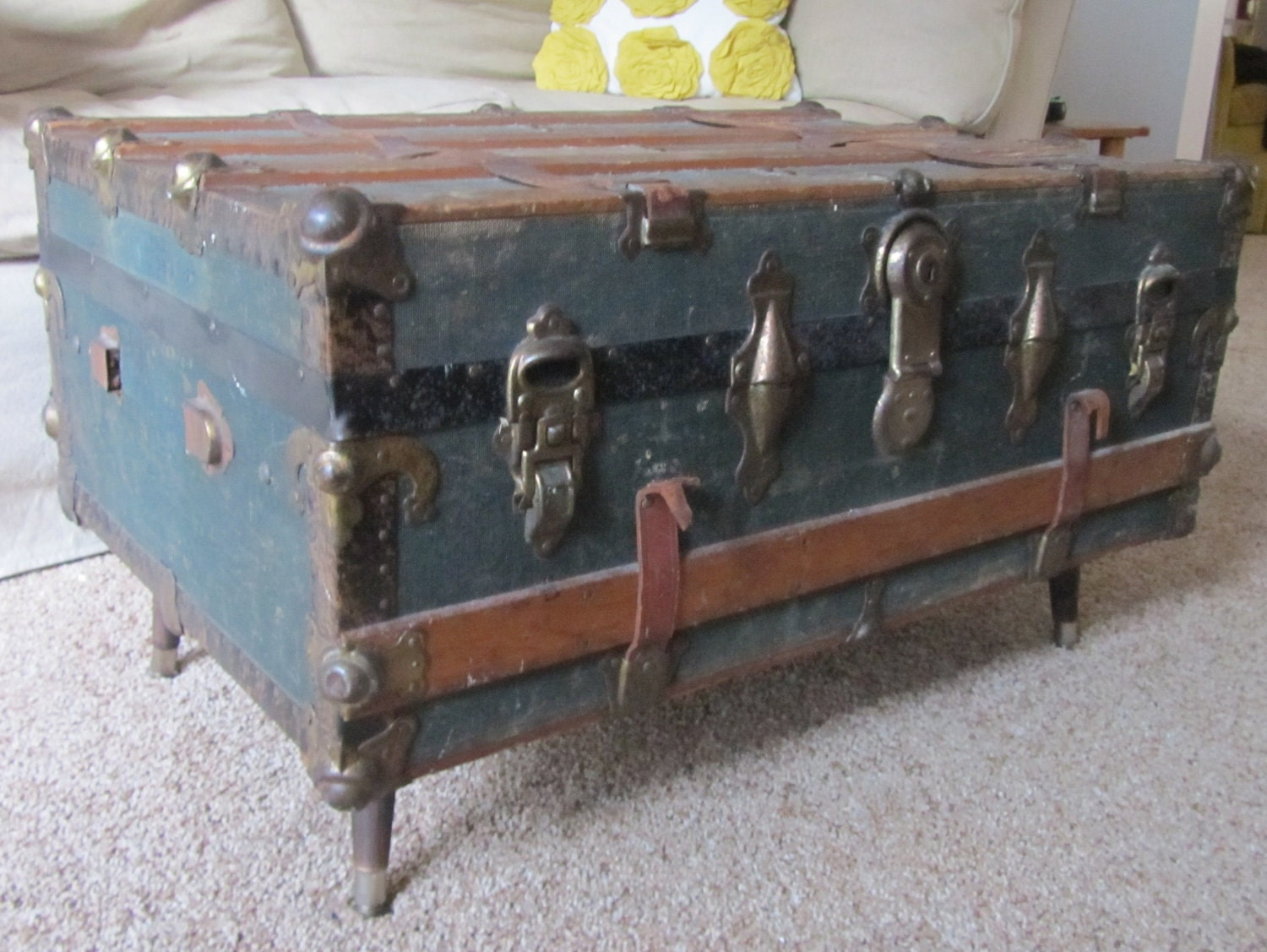Late 1800s Steamer Trunk Coffee Table by RemnantPDX on Etsy