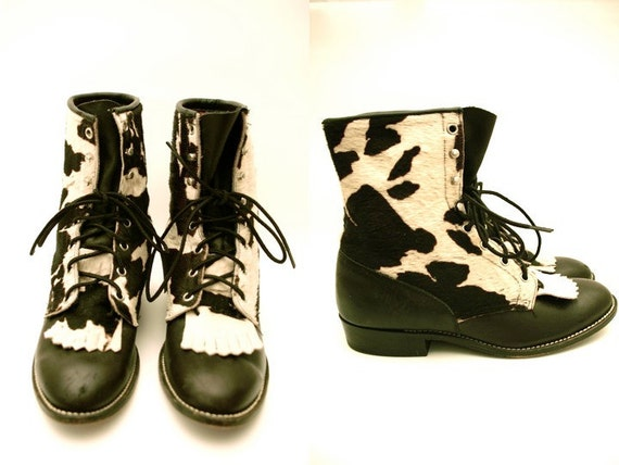 RESERVED for  thecommonMARKET Vtg Leather Pony Hair Cow Print Lace Up Boots 9