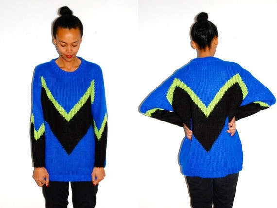 Vtg Neon Zig Zag Print Electric Blue Oversize Sweater