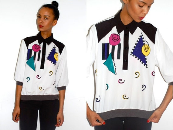 RESERVED itsPOW: Vtg Abstract Colorful Printed Tuxedo Collared Shirt