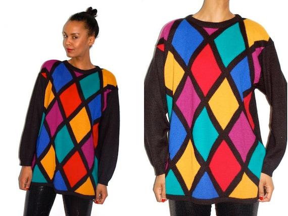 Vtg Color Block Diamond Knitted Oversize Black Sweater