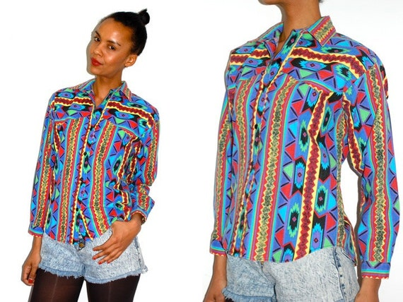 Vtg Neon Tribal Colorful Button Down LS Western Shirt