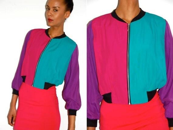 Vtg Color Block Cropped Hot Pink Purple Green Zip Up Jacket