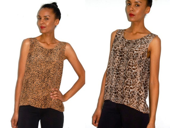 Vtg Reversible Silk Leopard & Python Printed Slouchy Tank Top