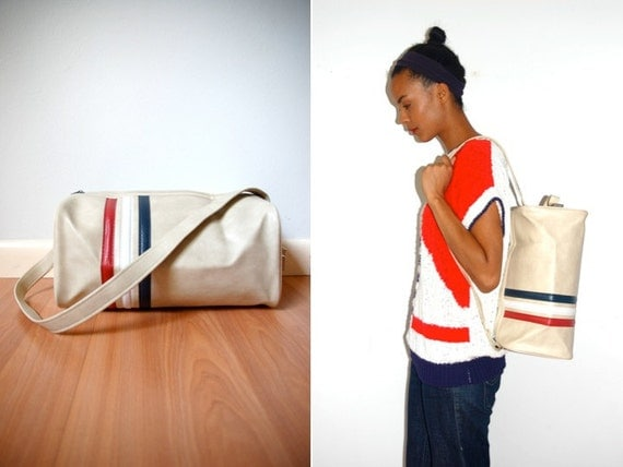 Vtg Retro Striped Red White Blue Bowling Gym Bag