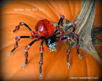Beaded Spider Pin Brooch PDF Instructions Tutorial Only
