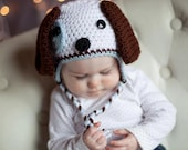 Puppy Hat//Crocheted Puppy Dog Earflap hat with Tassels//Crocheted Puppy Hat//Crocheted Animal Hat//SIZE Newborn, 0-3Months, or 3-6Months