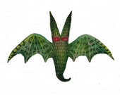 Green bat of the Dark Forest - original acrylic painting