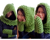 Crocodile Hooded Cowl & Long Gauntlets Set - Made to Order
