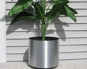 "10"" chrome silver planter flowerpot metal brushed look flower pot indoor landscaping deco. prevent leaking"