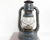 Reserved for Don - Vintage Lantern Blue Grey Dietz Little Wizard Kerosene Lamp Embossed Glass Railroad Cabin Rustic Camping Lighting