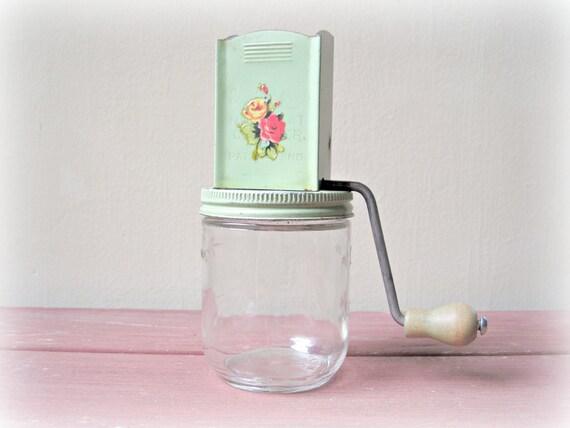 Vintage Nut Chopper Mint Green Kitchen Utensil Shabby Rose Cottage Chic Kitchen Utensil Decor Display
