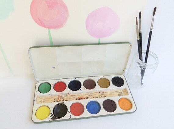 Vintage Watercolor Paint Set Windsor and Newton Ltd. Tin Case and Brushes Made in England Artist Green Enamel tin