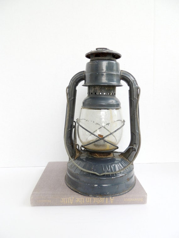 Reserved for Don - Vintage Lantern Blue Grey Dietz Little Wizard Kerosene Lamp Embossed Glass Railroad Cabin Rustic Camping Lighting