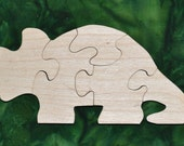 Triceratops Puzzle with Bag for Storage Handmade Educational Wood Puzzle