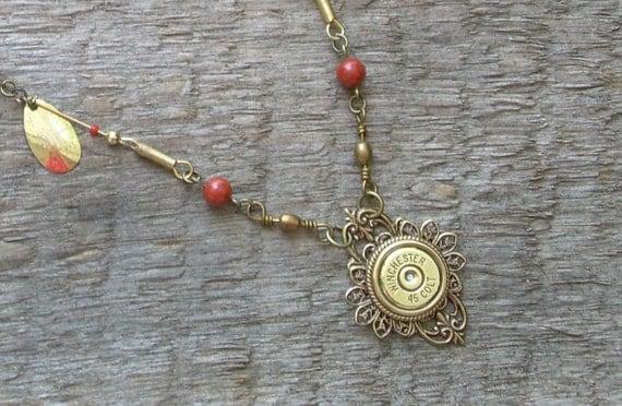 Bullet Casing Necklace Authentic Winchester Colt 45