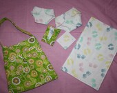 Doll Diaper Bag Purse in Green Fabric  with Accessories Diapers, Wipes & Wipes holder, Changing pad