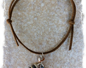 "Men's Adjustable Cotton Cord Bracelet with Sterling Silver ""Courage"" Charm and Handcrafted Silver Leaf Jasper Charm"