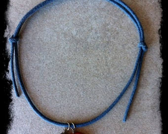 Men's or Unisex Blue Leather Cord Bracelet with Peace and Handcrafted Gemstone Charm