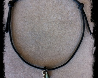 Men's or Unisex Black Cotton Cord Bracelet with Feather  Charm and African Turquoise Gemstone Charm