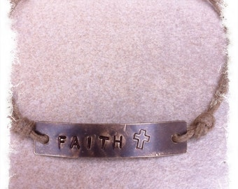 "Women's or Unisex Tan Cotton Cord Christian Inspiration Bracelet with Hand Stamped Brass Tag ""FAITH"""