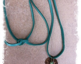 """Inspirational Suede Charm Necklace with Hand Stamped """"Live-Love"""" Brass Tag and Tiny African Turquoise Drop"""
