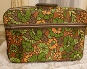 SALE Vintage Suitcase Mod Cloth Floral Luggage or Computer Case Bantam