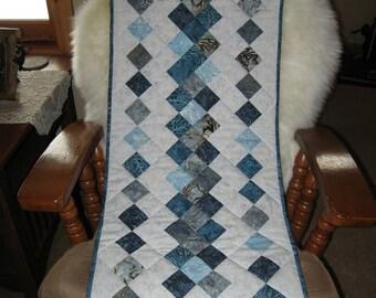 Shades of blue, mixed batik table runner.