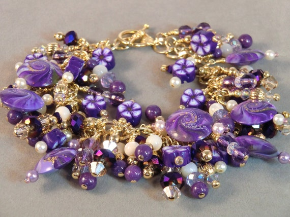 Purple Heaven, white, gold, lavender and purple fringe cha cha bracelet, purple polymer clay swirl beaded bracelet in crystal and gold