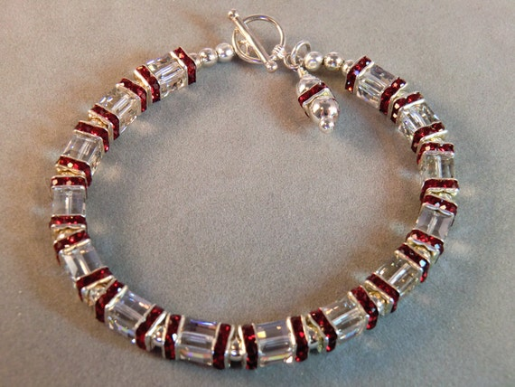 Ruby rhinestone crystal cube and silver beaded bracelet, red  ruby crystal and rhinestone bling bracelet in silver