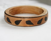 Handmade Wooden Bangle, Bracelet, Burnt Leaf Design, Ladies Rustic Jewelry