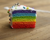 CLEARANCE Large Six Layer Rainbow Pride Cake Necklace with Clay Sprinkles