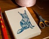 Fennec Fox Hand Printed Gocco Card