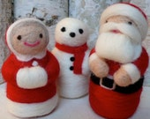 Santa, the Mrs. and a Snowman - Free Shipping