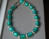 Queen of the Hop 1950s Coro Teal Moonglow Necklace