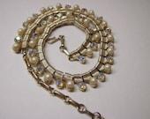 Coro Necklace with Aurora Borealis Rhinestones and Faux Pearls