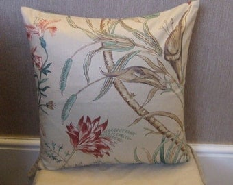 """CLEARANCE 16"""" X 16"""" Handmade contemporary modern green and beige flowered, leafed cushion cover, pillow, pillow case, scatter cushion."""