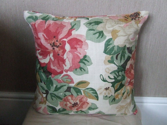 """CLEARANCE 16""""x16"""" Handmade pink, green, beige flowered cushion cover, pillow, pillow case, scatter cushion."""